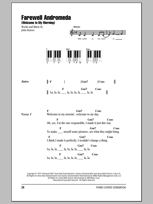 Farewell Andromeda (Welcome To My Morning) Sheet Music