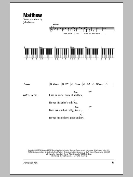 Matthew Sheet Music