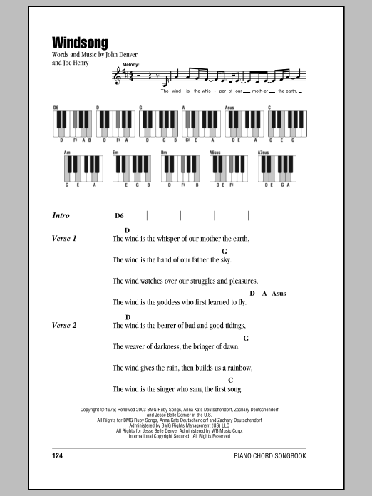 Windsong (Piano Chords/Lyrics)