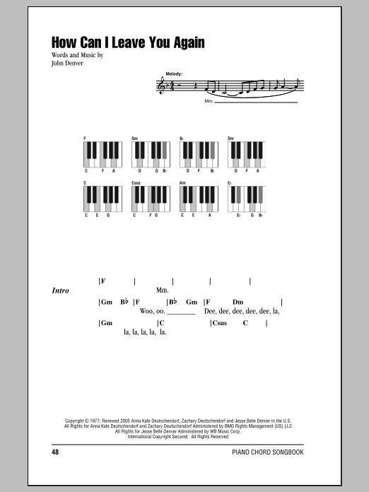 How Can I Leave You Again (Piano Chords/Lyrics)