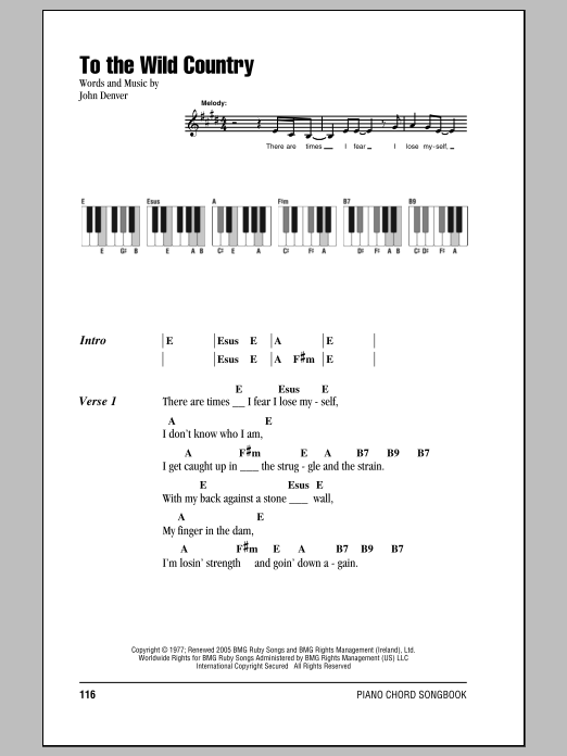 To The Wild Country Sheet Music