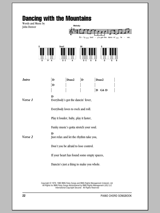 Dancing With The Mountains Sheet Music
