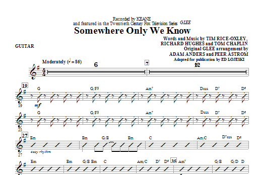 Somewhere Only We Know - Guitar (Choir Instrumental Pak)
