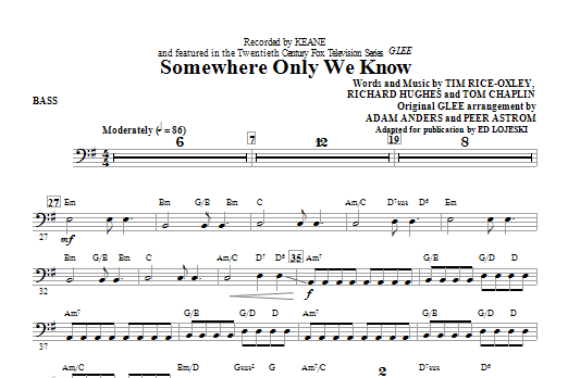 Somewhere Only We Know - Bass Sheet Music | Ed Lojeski | Choral ...