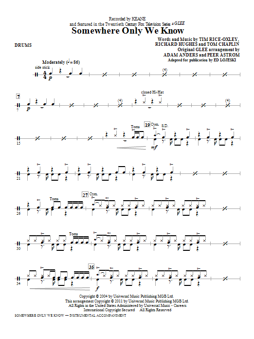 Somewhere Only We Know Drums Sheet Music Direct