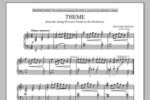 The Young Person's Guide To The Orchestra, Op. 34 (Theme) (Piano Solo)