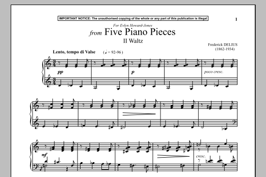 Five Piano Pieces, II. Waltz (Piano Solo)