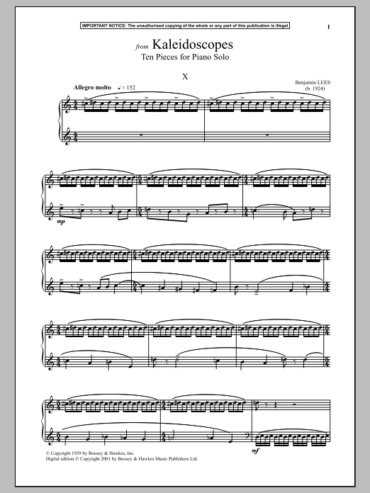 Kaleidoscopes, Ten Pieces For Piano Solo, X. (Piano Solo)