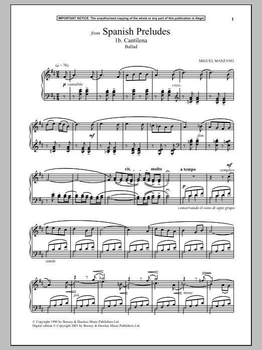 Spanish Preludes, 1b. Cantilena (Ballad) (Piano Solo)