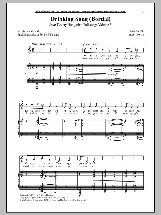Drinking Song (Bordal) (from Twenty Hungarian Folksongs Vol. 3) Sheet Music