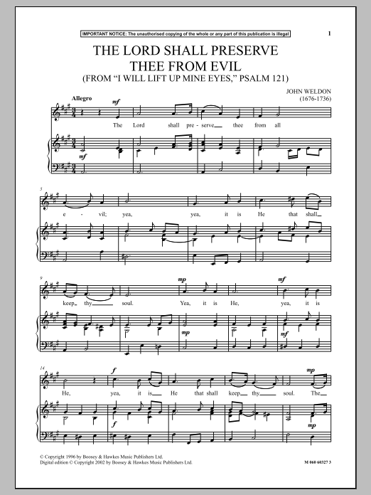 The Lord Shall Preserve Thee From Evil (from I Will Lift Up Mine Eyes, Psalm 121) (Piano & Vocal)
