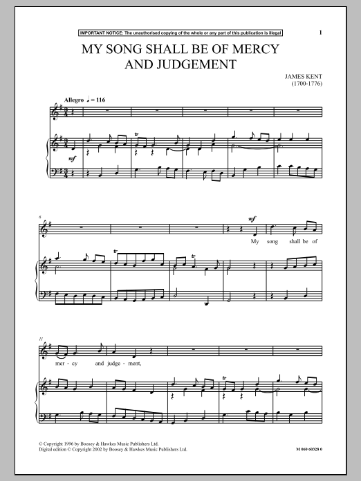 My Song Shall Be Of Mercy And Judgement (Piano & Vocal)