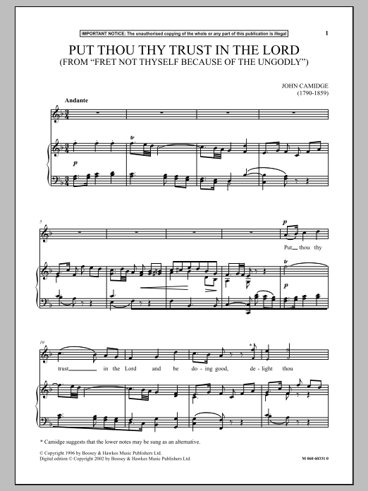 Put Thou Thy Trust In The Lord (from Fret Not Thyself Because Of The Ungodly) Sheet Music