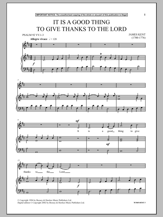 It Is A Good Thing To Give Thanks To The Lord (Piano & Vocal)