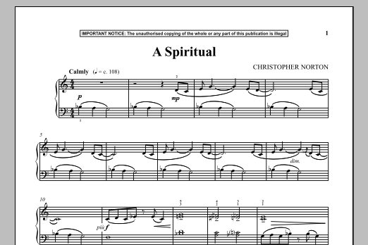 A Spiritual (Piano Solo)