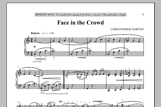 Face In The Crowd (Piano Solo)