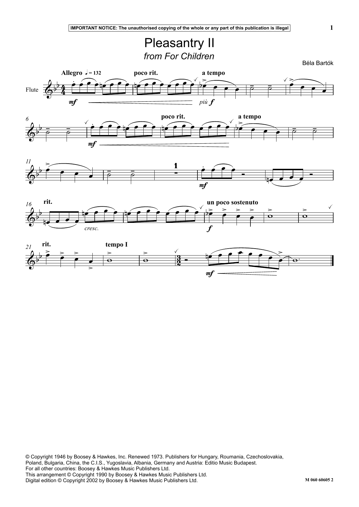Pleasantry II (from For Children) (Instrumental Solo)