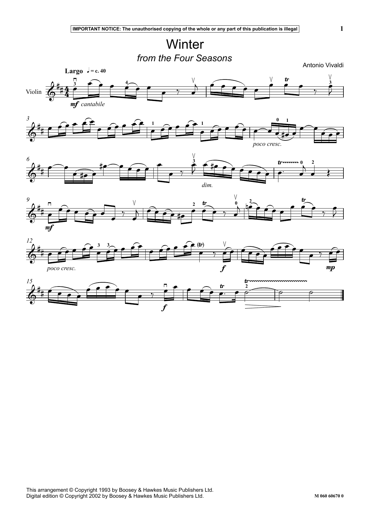 Winter (from The Four Seasons) (Instrumental Solo)