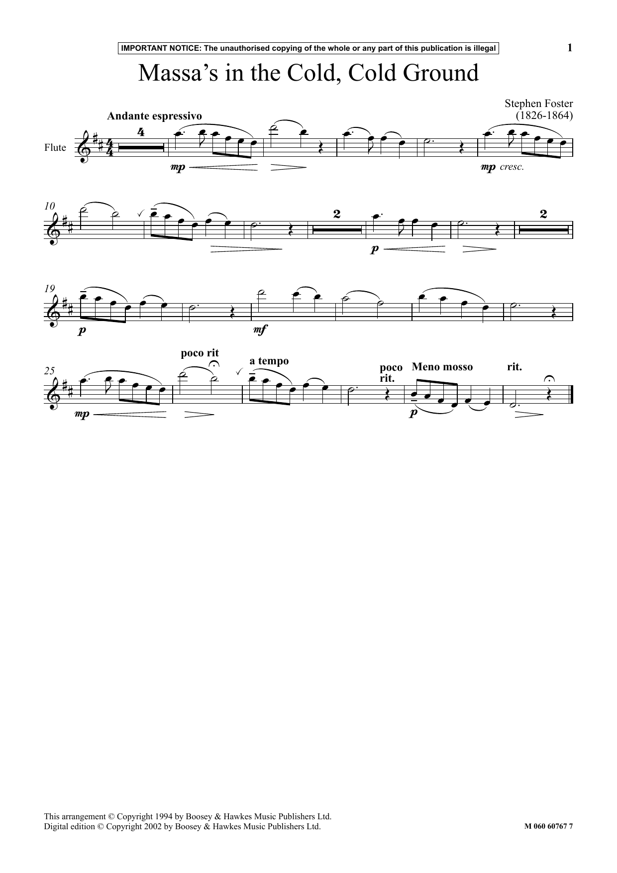 Massa's In The Cold, Cold Ground (Instrumental Solo)