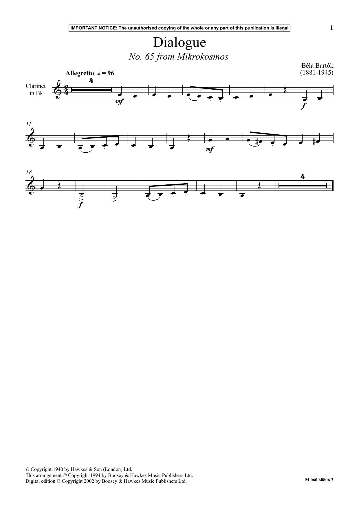 Dialogue (No. 65 from Mikrokosmos) (Instrumental Solo)
