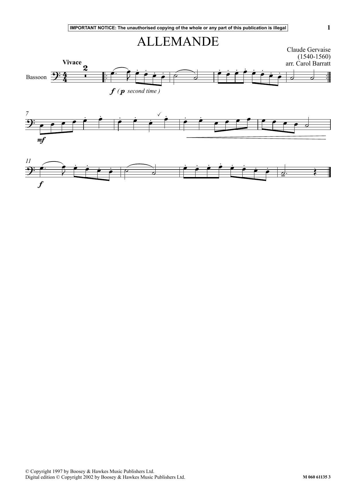 Allemande Sheet Music