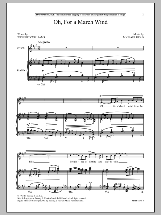 Oh, For A March Wind Sheet Music