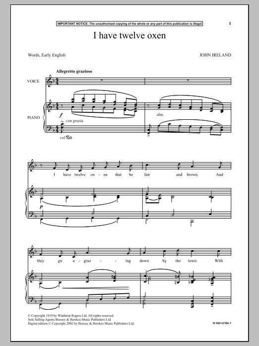 I Have Twelve Oxen (Piano & Vocal)