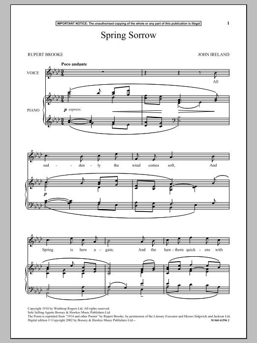Spring Sorrow (Piano & Vocal)