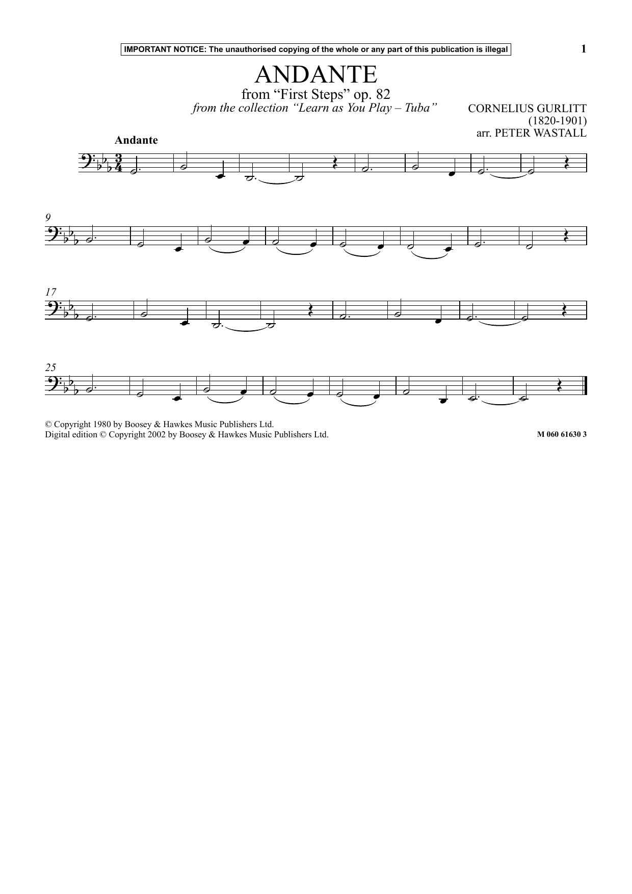Andante From First Steps, Op. 82 (from Learn As You Play Tuba ) Sheet Music
