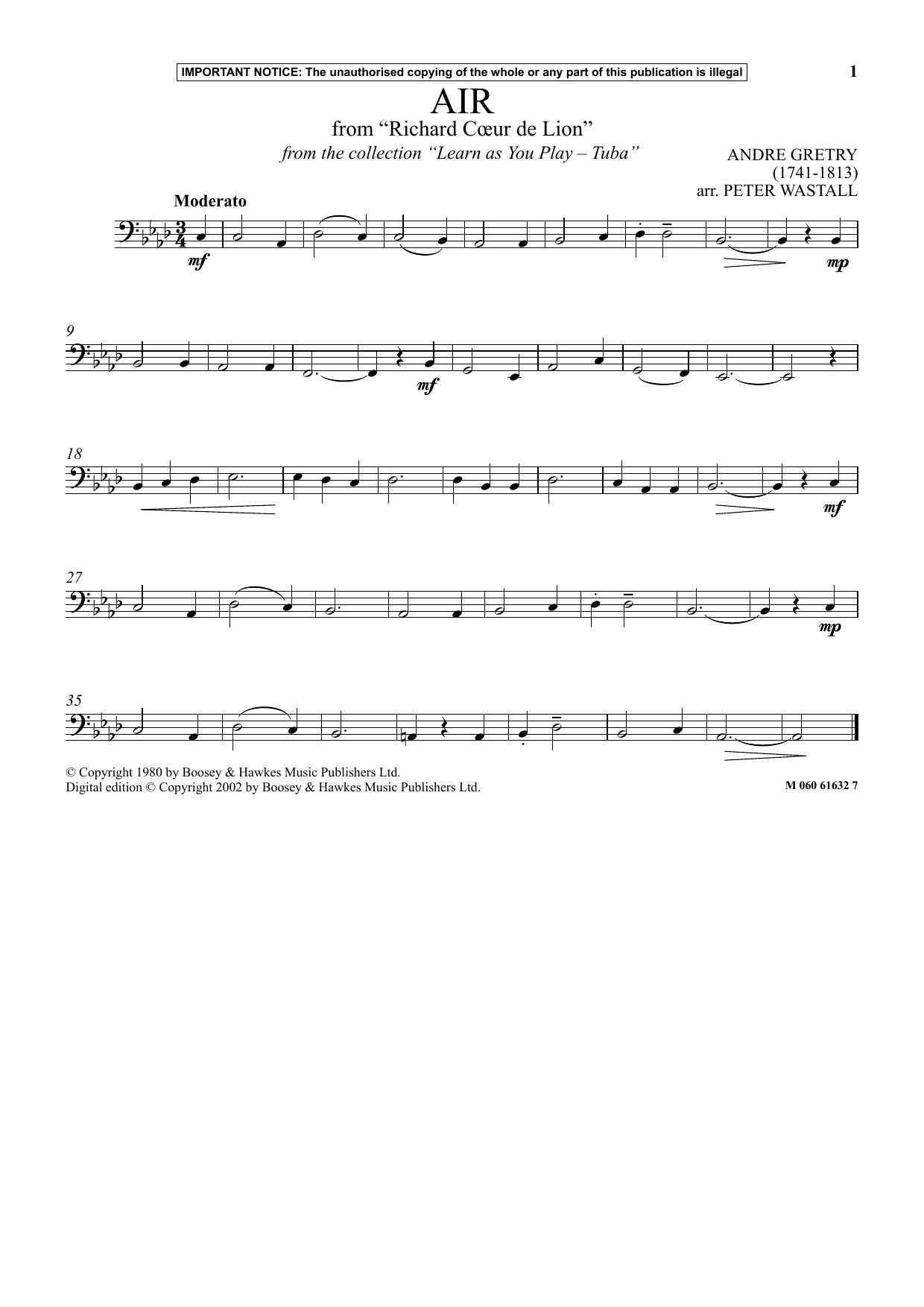Air From Richard Coeur De Lion (from Learn As You Play Tuba) (Instrumental Solo)