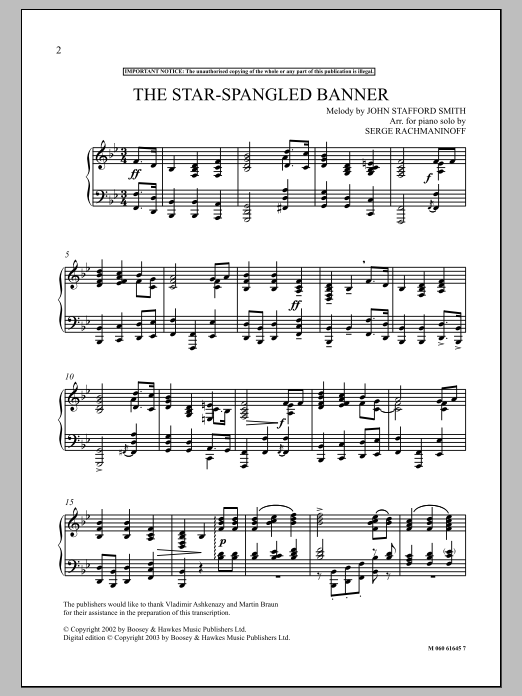 The Star Spangled Banner Sheet Music Serge Rachmaninoff Piano Solo