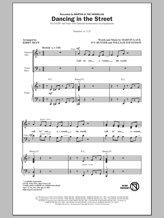 Dancing In The Street (SATB Choir)