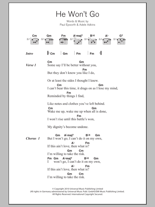 He Won\'t Go by Adele - Guitar Chords/Lyrics - Guitar Instructor