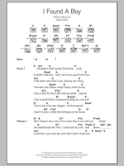 I Found A Boy by Adele - Guitar Chords/Lyrics - Guitar Instructor