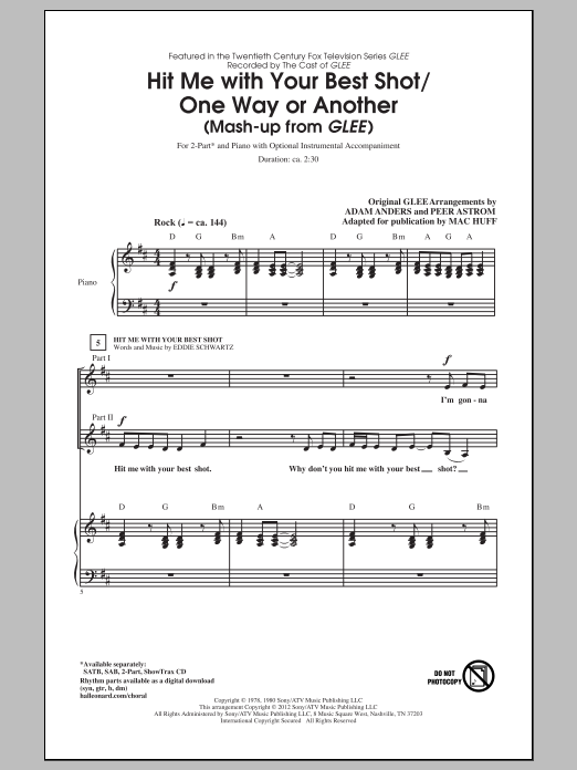 Hit Me With Your Best Shot / One Way Or Another (arr. Mac Huff) Sheet Music
