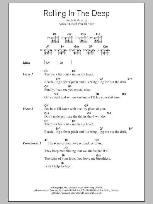 Rolling In The Deep by Adele - Guitar Chords/Lyrics - Guitar Instructor