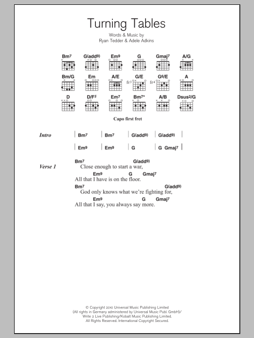 Turning Tables Sheet Music Adele Lyrics Chords