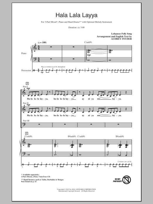 Hala Lala Layya (arr. Audrey Snyder) Sheet Music