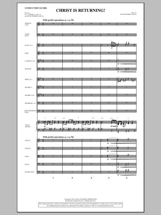 Christ Is Returning! (complete set of parts) sheet music for orchestra/band (Orchestra) by David Schmidt. Score Image Preview.