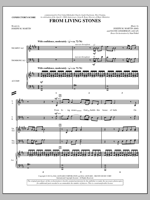 From Living Stones (complete set of parts) sheet music for orchestra/band (Brass) by Joseph M. Martin and David Angerman. Score Image Preview.
