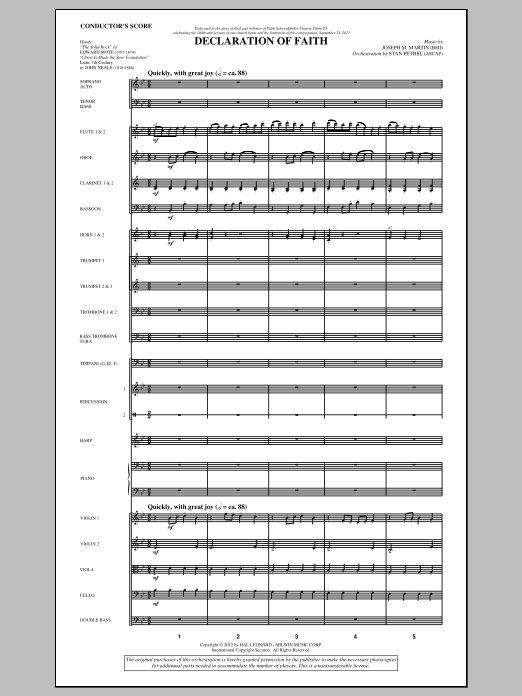 Declaration Of Faith (complete set of parts) sheet music for orchestra/band (Orchestra) by Joseph M. Martin, Edward Mote and John Mason Neale. Score Image Preview.