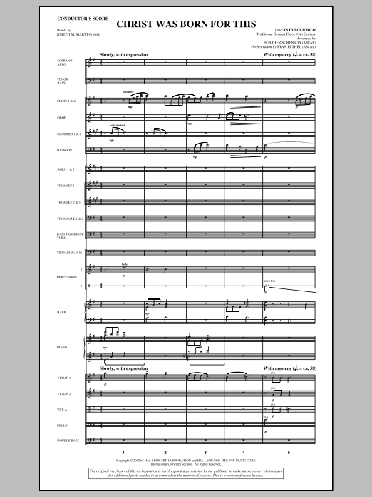 Christ Was Born For This (complete set of parts) sheet music for orchestra/band (Orchestra) by Heather Sorenson and Joseph M. Martin. Score Image Preview.