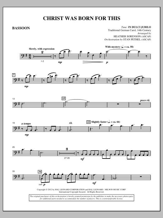 Christ Was Born For This - Bassoon (Choir Instrumental Pak)