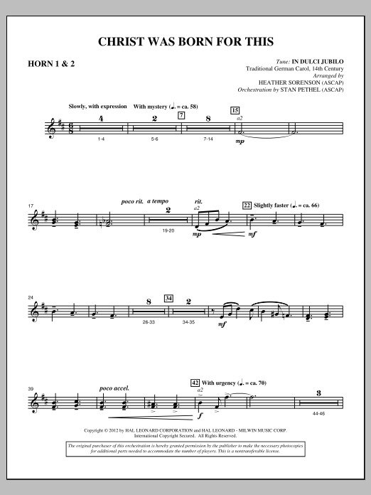 Christ Was Born For This - F Horn 1,2 (Choir Instrumental Pak)