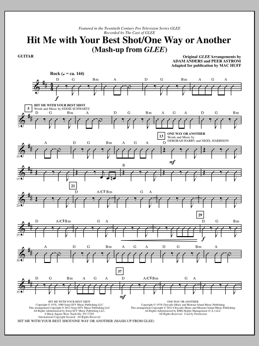 Hit Me With Your Best Shot / One Way Or Another - Guitar Sheet Music