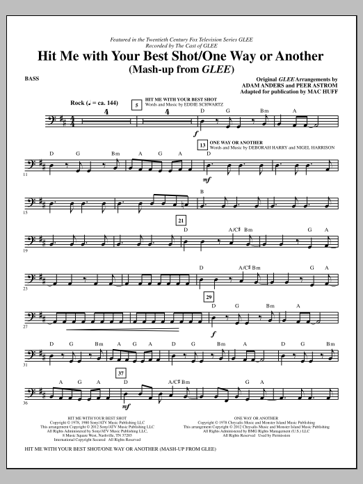 Hit Me With Your Best Shot / One Way Or Another - Bass Sheet Music