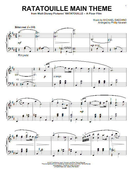Ratatouille Main Theme Sheet Music