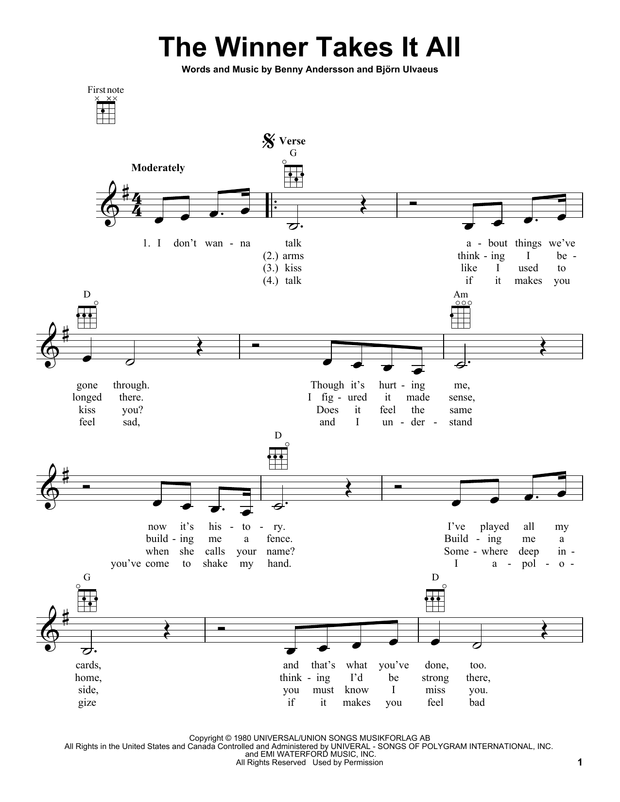 Tablature guitare The Winner Takes It All de ABBA - Ukulele