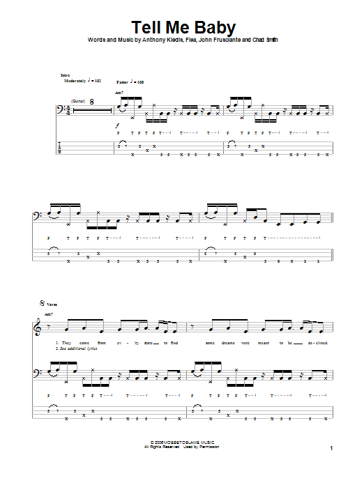 Tell Me Baby (Bass Guitar Tab)