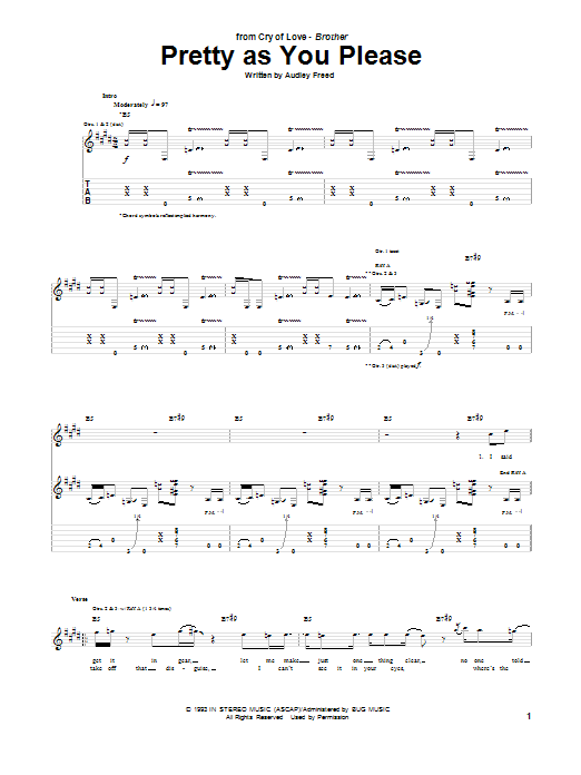 Tablature guitare Pretty As You Please de Cry Of Love - Tablature Guitare
